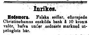 Blekingeposten 1879-03-04 Christinehamns Enskilda Bank falska sedlar i Hedemora